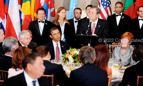 New York, NY - September 23, 2009 -- United Nations Secretary General Ban Ki-moon addresses a lunch as United States President Barack Obama looks on at the United Nations General Assembly at UN Headquarters in New York, NY, Wednesday, September 23, 2009..Credit: Olivier Douliery - Pool via CNP
