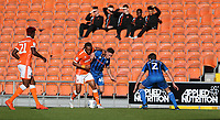 Blackpool's Nathan Delfouneso battles with Rochdale's Ian Henderson<br /> <br /> Photographer Stephen White/CameraSport<br /> <br /> The EFL Sky Bet League One - Blackpool v Rochdale - Saturday 6th October 2018 - Bloomfield Road - Blackpool<br /> <br /> World Copyright © 2018 CameraSport. All rights reserved. 43 Linden Ave. Countesthorpe. Leicester. England. LE8 5PG - Tel: +44 (0) 116 277 4147 - admin@camerasport.com - www.camerasport.com
