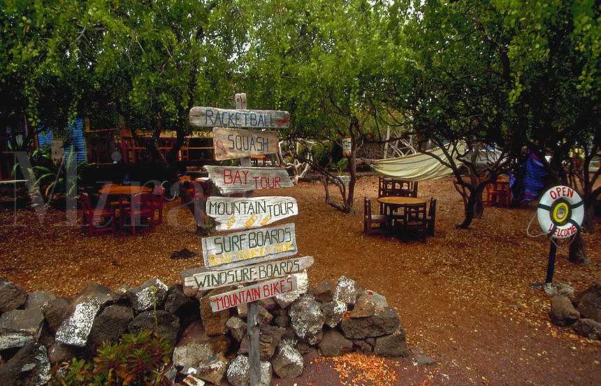 Signs in Puerto Ayora, he largest town in the islands, Galapagos Islands, Ecuador