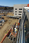 """Glazers"" from  Hershocks, Inc. seal and place trim between window pains on the front of the  new patient tower for the Williamsport Regional Medical Center on Wednesday November 10, 2010."