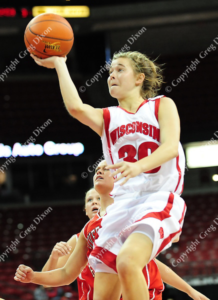Sophomore guard Alyssa Karel. The Badger women's basketball team tops UW-River Falls 71-38 in exhibition play on Sunday, 11/9/08, at the Kohl Center in Madison