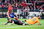 Atletico de Madrid Diego Costa and Arsenal FC Jose Maria Gimenez and David Ospina during Europa League Semi Finals First Leg match between Atletico de Madrid and Arsenal FC at Wanda Metropolitano in Madrid, Spain. May 03, 2018.  (ALTERPHOTOS/Borja B.Hojas)
