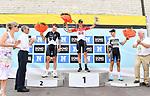 2018-07-07 / Wielrennen / Seizoen 2018 / GP Rik Van Looy Herentals / Het podium met winnaar Brent Van Moer (midden), Niels Boele (l. 2e) en Jelle Schuermans (r. 3e). Links Rik Van Looy<br /> <br /> ,Foto: Mpics