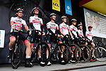 UAE Team Emirates on stage at the team presentation before Stage 1 of the Criterium du Dauphine 2019, running 142km from Aurillac to Jussac, France. 9th June 2019<br /> Picture: ASO/Alex Broadway | Cyclefile<br /> All photos usage must carry mandatory copyright credit (© Cyclefile | ASO/Alex Broadway)