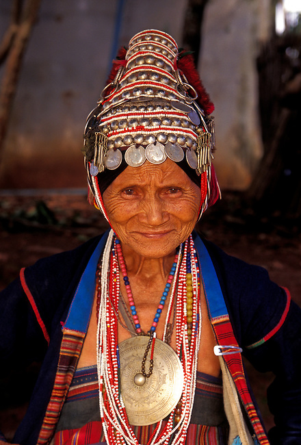 Akha woman, member of a hill tribe, Chiang Mai Province, Thailand, Asia