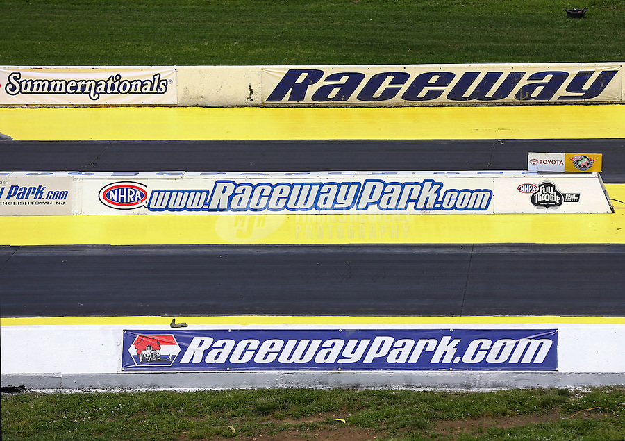 May 30, 2013; Englishtown, NJ, USA: NHRA overall view of starting line logos at Raceway Park. Mandatory Credit: Mark J. Rebilas-