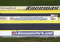 May 30, 2013; Englishtown, NJ, USA: NHRA overall view of starting line logos at Raceway Park. Mandatory Credit: Mark J. Rebilas-