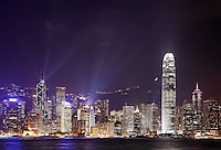 Hong Kong skyline above Victoria Harbour during evening light show, Hong Kong SAR, China, Asia