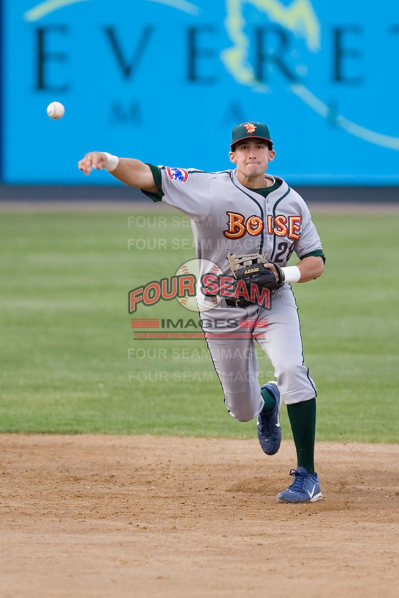 June 22, 2008:  Drafted 41st overall by the Chicago Cubs out of Vanderbilt University, Boise Hawks shortstop Ryan Flaherty rifles a throw to first during a Northwest League game against the Everett AquaSox at Everett Memorial Stadium in Everett, Washington.