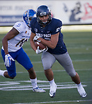 Nevada's Andrew Celis runs against San Jose State in the second half of an NCAA college football game in Reno, Nev. Saturday, Nov. 11, 2017. (AP Photo/Tom R. Smedes)