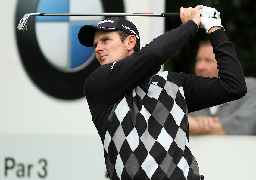 England's Justin Rose tees off during the Pro Am... (Photo by James Marsh/CameraSport) ..Golf - 2013 BMW PGA Championship - Celebrity Pro-Am Day - Wentworth Club - Wednesday 22nd May 2013 - Virginia Water, Surrey, England..© CameraSport - 43 Linden Ave. Countesthorpe. Leicester. England. LE8 5PG - Tel: +44 (0) 116 277 4147 - admin@camerasport.com - www.camerasport.com