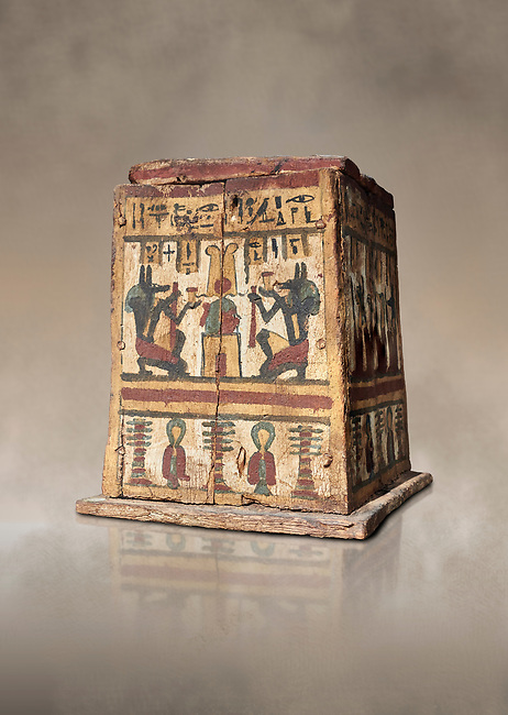 Ancient Egyptian pylon (gateway) shaped Canopic chest for internal organs, wood, Late  to Ptolemaic Period(722-40 BC), Egyptian Museum, Turin. Old Fund Cat 2427. <br /> <br /> Canopic chests are cases used by Ancient Egyptians to contain the internal organs removed during the process of mummification.