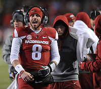 NWA Media/ANDY SHUPE - Arkansas backup quarterback Austin Allen yells from the sidelines against LSU during the third quarter Saturday, Nov. 15, 2014, at Razorback Stadium in Fayetteville.