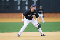 Wake Forest Demon Deacons third baseman Will Craig (22) on defense against the Florida State Seminoles at Wake Forest Baseball Park on April 19, 2014 in Winston-Salem, North Carolina.  The Seminoles defeated the Demon Deacons 4-3 in 13 innings.  (Brian Westerholt/Four Seam Images)