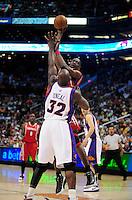 Mar. 22, 2008; Phoenix, AZ, USA; Phoenix Suns center (32) Shaquille O'Neal defends Houston Rockets center (55) Dikembe Mutombo the US Airways Center. Mandatory Credit: Mark J. Rebilas