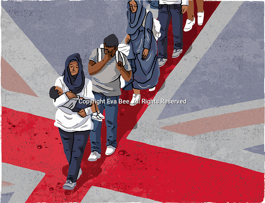 Refugees arriving on Union Jack flag