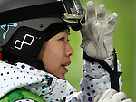 VANCOUVER, BC - FEBRUARY 13:  Tae Satoya of Japan looks on during the Women's Freestyle Mogul Prelims at the 2010 Vancouver Winter Olympics at Cypress Mountain on February 13, 2010 in Vancouver, Canada. (Photo by Donald Miralle)