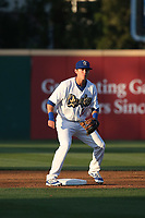 Zach McKinstry (24) of the Rancho Cucamonga Quakes covers second base during a game against the Modesto Nuts at LoanMart Field on June 5, 2017 in Rancho Cucamonga, California. Rancho Cucamonga defeated Modesto, 7-5. (Larry Goren/Four Seam Images)