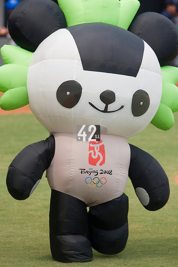 19 August 2007: The Beijing 2008 mascott is seen during the Japan 4-3 victory over France in the Good Luck Beijing International baseball tournament (olympic test event) at the Wukesong Baseball Field in Beijing, China.