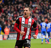 10th February 2018, Bramall Lane, Sheffield, England; EFL Championship football, Sheffield United versus Leeds United; Billy Sharp of Sheffield United celebrates scoring a penalty to make it 2-1 in the 73rd minute