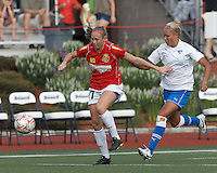Western New York defender Nikki Marshall (17) passes back to goalie as Boston Breakers forward Kyah Simon (17) pressures. In a Women's Premier Soccer League Elite (WPSL) match, the Boston Breakers defeated Western New York Flash, 3-2, at Dilboy Stadium on May 26, 2012.