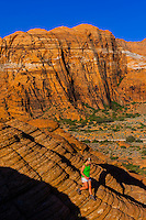 Female hiker, Snow Canyon State Park, near St. George, Utah USA