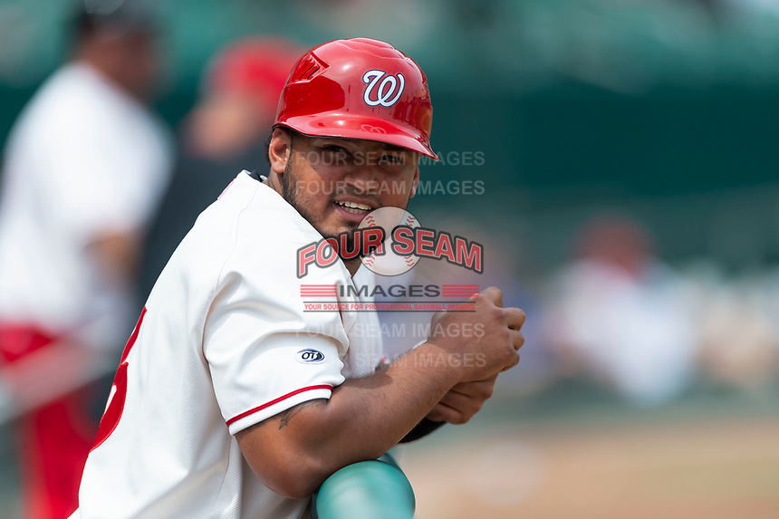 Fresno Grizzlies catcher Raudy Reed (26) during a game against the Reno Aces at Chukchansi Park on April 8, 2019 in Fresno, California. Fresno defeated Reno 7-6. (Zachary Lucy/Four Seam Images)