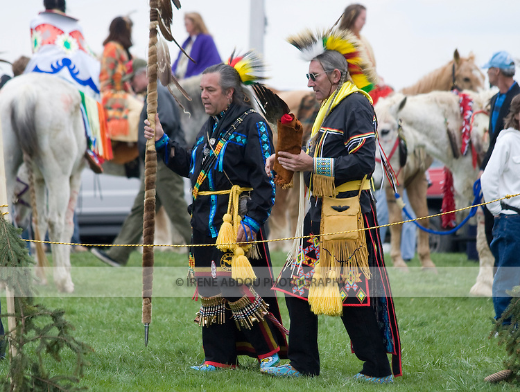Native Americans dress in full traditional regalia at the Healing Horse Spirit PowWow in Mt. Airy, Maryland.