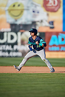 Lynchburg Hillcats left fielder Mitch Longo (10) leads off second base during the first game of a doubleheader against the Frederick Keys on June 12, 2018 at Nymeo Field at Harry Grove Stadium in Frederick, Maryland.  Frederick defeated Lynchburg 2-1.  (Mike Janes/Four Seam Images)