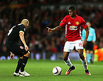 Marcus Rashford of Manchester United takes on Nikita Kamenyuka of FC Zorya Luhansk during the UEFA Europa League match at Old Trafford Stadium, Manchester. Picture date: September 29th, 2016. Pic Matt McNulty/Sportimage