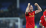 Jordan Henderson of Liverpool celebrates after the English Premier League match at Goodison Park, Liverpool. Picture date: December 19th, 2016. Photo credit should read: Lynne Cameron/Sportimage