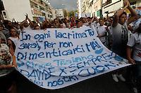 corteo  di  protesta contro le forze dell'ordine al Rione Traiano dove   Davide Bifolco di 17 anni  e stato ucciso da un carabiniere<br /> Napoli 6 settembre 2014