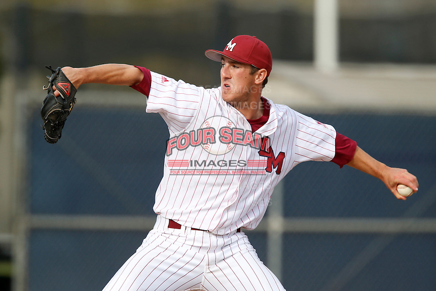 Matt Florer #13 of the Loyola Marymount Lions pitches against the Gonzaga Bulldogs at Page Stadium on March 28, 2013 in Los Angeles, California. (Larry Goren/Four Seam Images)