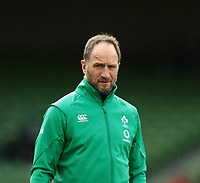 8th February 2020; Aviva Stadium, Dublin, Leinster, Ireland; International Six Nations Rugby, Ireland versus Wales; Ireland assistant coach Mike Catt watches on as the players warm up