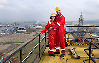JOHANN MULLER VISITS HARLAND &amp; WOLFF BELFAST -    Wednesday 30th April 2014<br /> <br /> Mariska Muller and Johann Muller on top of the Samson crane during their Harland &amp; Wolff shipyard in Belfast.<br /> <br /> <br /> Mandatory Credit - Photo by John Dickson - DICKSONDIGITAL