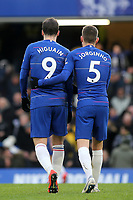 Gonzalo Higuain and Jorginho of Chelsea walk off at half-time during Chelsea vs Huddersfield Town, Premier League Football at Stamford Bridge on 2nd February 2019