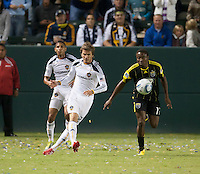 Galaxy midfielder David Beckham (23) passes the ball up the field during the second half of the game between LA Galaxy and the Columbus Crew at the Home Depot Center in Carson, CA, on September 11, 2010. LA Galaxy 3, Columbus Crew 1.