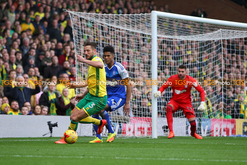 Martin Olsson of Norwich City holds off Jordan Spence of Ipswich Town during Norwich City vs Ipswich Town, Sky Bet EFL Championship Football at Carrow Road on 26th February 2017