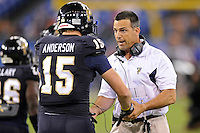 20 December 2011:  FIU Head Football Coach Mario Cristobal fires up tight end Colt Anderson (15) prior to the game.  The Marshall University Thundering Herd defeated the FIU Golden Panthers, 20-10, to win the Beef 'O'Brady's St. Petersburg Bowl at Tropicana Field in St. Petersburg, Florida.