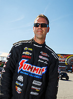 Sep 4, 2016; Clermont, IN, USA; NHRA pro stock driver Jason Line during qualifying for the US Nationals at Lucas Oil Raceway. Mandatory Credit: Mark J. Rebilas-USA TODAY Sports