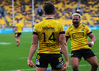 Kobus Van Wyk celebrates his try during the Super Rugby Aotearoa match between the Hurricanes and Highlanders at Sky Stadium in Wellington, New Zealand on Sunday, 12 July 2020. Photo: Dave Lintott / lintottphoto.co.nz