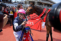 Jockey Corey Brown wins the Melbourne on Rekindling (GB)<br />