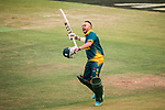 Aubrey Swanepoel of South Africa celebrates after winning the Hong Kong Cricket World Sixes 2017 Cup final match between Pakistan vs South Africa at Kowloon Cricket Club on 29 October 2017, in Hong Kong, China. Photo by Vivek Prakash / Power Sport Images