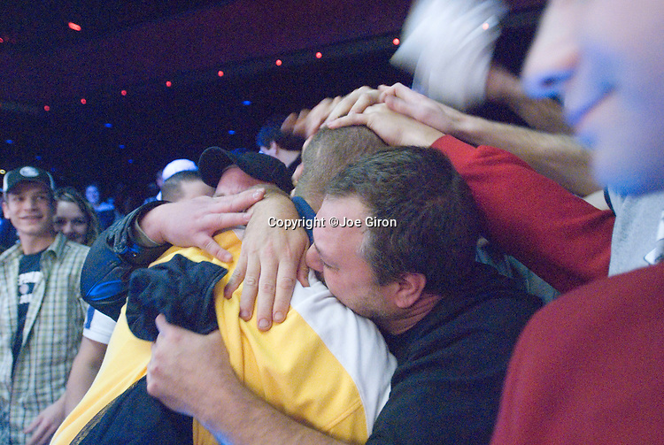 Soren Turkewitsch celebrates with his supporters after winning the tournament.