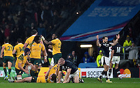 Greig Laidlaw of Scotland throws his hands up in frustration at the end of the match. Rugby World Cup Quarter Final between Australia and Scotland on October 18, 2015 at Twickenham Stadium in London, England. Photo by: Patrick Khachfe / Onside Images