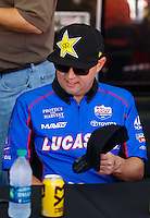 Sep 3, 2016; Clermont, IN, USA; NHRA top fuel driver Richie Crampton during qualifying for the US Nationals at Lucas Oil Raceway. Mandatory Credit: Mark J. Rebilas-USA TODAY Sports