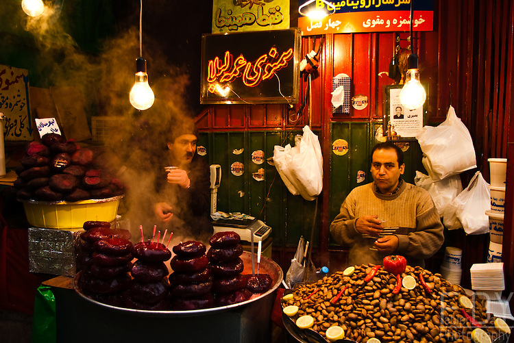 Iran doesn't have that much of a street food culture, but instead they have tasty seasonal snacks, such as this boiled beetroot (left) and fava beans (right). Tajrish Bazaar, Northern Tehran