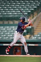 GCL Twins third baseman Charles Mack (9) at bat during the first game of a doubleheader against the GCL Orioles on August 1, 2018 at CenturyLink Sports Complex Fields in Fort Myers, Florida.  GCL Twins defeated GCL Orioles 7-6 in the completion of a suspended game originally started on July 31st, 2018.  (Mike Janes/Four Seam Images)