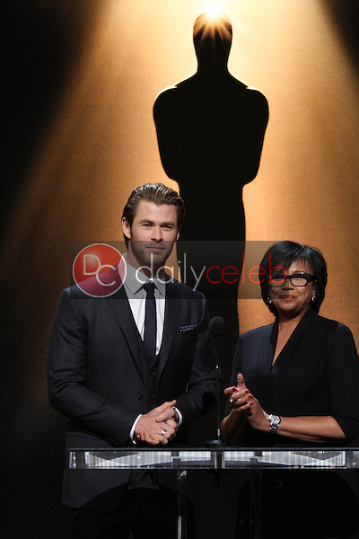 Chris Hemsworth, Cheryl Boone Isaacs<br /> at the 86th Academy Awards Nominations Announcement, Academy of Motion Picture Arts and Sciences, Beverly Hills, CA 01-16-14<br /> David Edwards/DailyCeleb.Com 818-249-4998