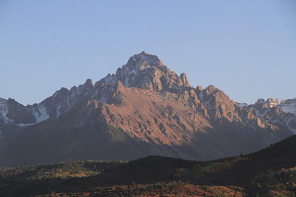Mount Sneffels (14,150 ft.) at sunset, San Juan Mountains.